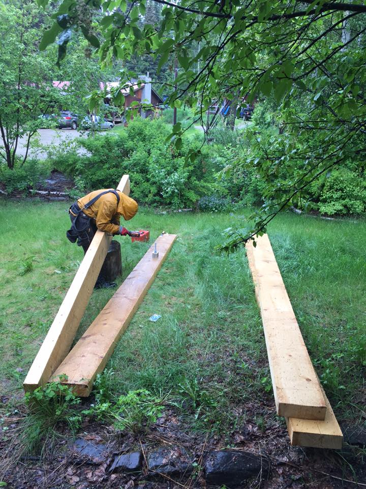 Mike Musick and Gary Pohl moved these timbers, delivered by Northland Wood, on Saturday the 4th, while it was still sunny and warm.