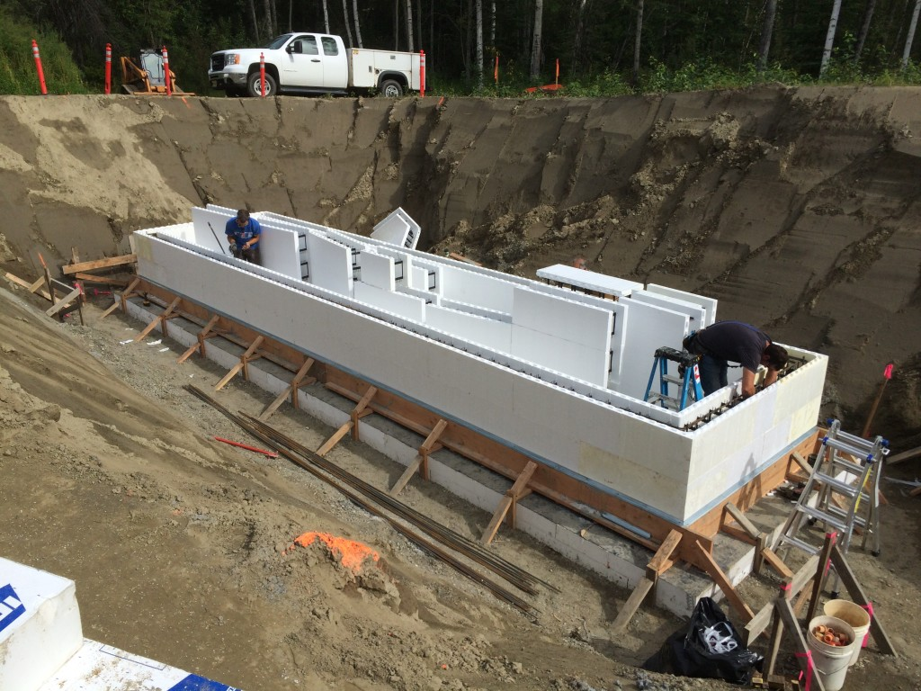 With the slab in place, new insulated concrete forms (ICF) are being set on August 12th.