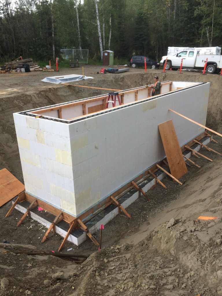 ICF walls are topped out and internal shoring work is taking place.