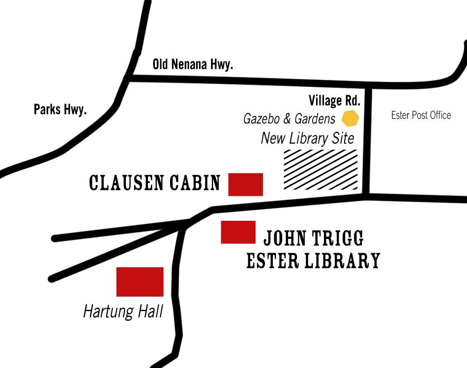 Map of JTEL facilities and other landmarks in Ester, created by Monique Musick.