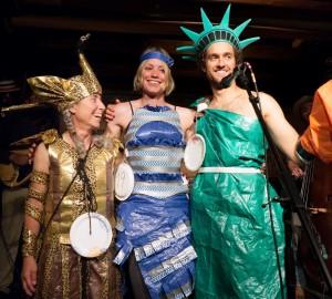 The 2016 Tape and Tarp top costume winners: Lisa Baraff (2nd), Faustine Bernadae (3rd) and John Harley (3rd)